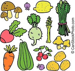 Collection stock of vegetables object