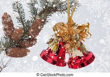 New Year's hand bell on a fir-tree branch with cones. Christmas Background