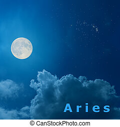 full moon in the night sky with design zodiac constellation Aries
