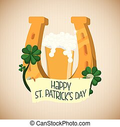 happy st patricks day golden horseshoe beer and clover -...
