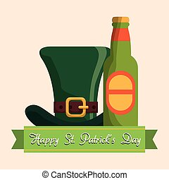 happy st patricks day bottle beer hat vector illustration...