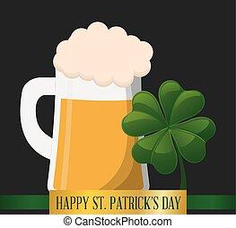happy st patricks day mug beer and shamrock vector...