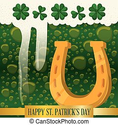 happy st patricks day horseshoe green beer bubbles vector...
