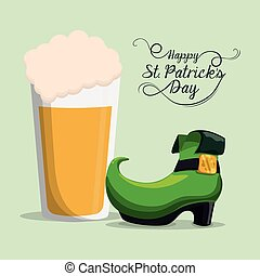 happy st patricks day boot and beer vector illustration eps...