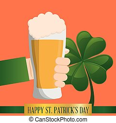 hand glass beer clover happy st patricks day vector...