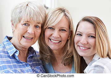 Female Multi Generation Portrait At Home