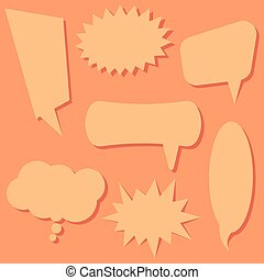 Set of speech bubbles on a orange background.