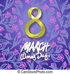 March 8 greeting card. International Womans Day. vector. violet background. flower tulip