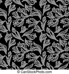 black white Seamless floral pattern with tulips. Vector illustration.