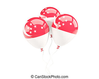 Three balloons with flag of singapore isolated on white. 3D...