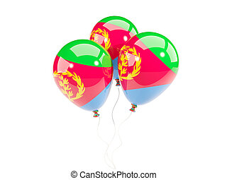 Three balloons with flag of eritrea isolated on white. 3D...