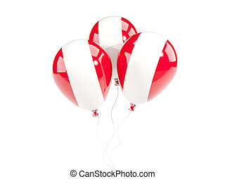 Three balloons with flag of peru isolated on white. 3D...