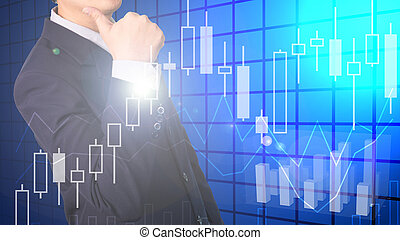 Double exposure of businessman showing thumbs up with financial graph chart.