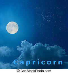 cheio, Capricórnio, céu, lua, desenho, noturna, signos,...