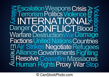 International Conflict Word Cloud on Blue Background