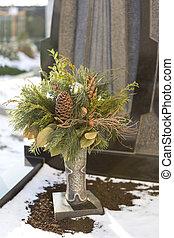 Flower arrangement at a grave