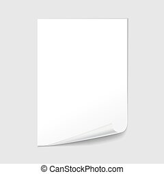 Empty paper sheet blank with page curl, realistic vector.