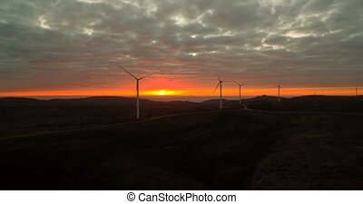 Aerial, Flying At A Power Plant At Sunset, Portugal - Graded...