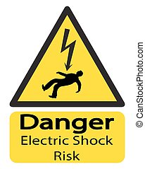 Electric Shock Risk Sign With Man