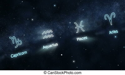 Signs of Zodiac - Seamlessly loopable rotation of zodiac...