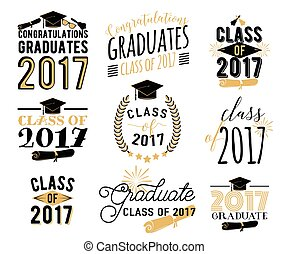 Graduation wishes overlays, labels set. Retro graduate class...