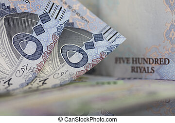 Close-up of Two Saudi Riyal notes - Saudi Riyal is the...