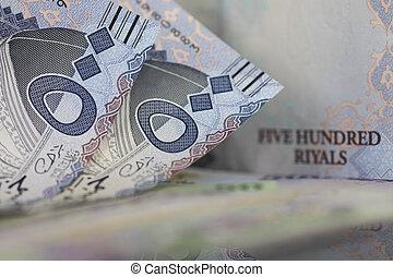 Close-up of Two Saudi Riyal notes - Saudi Riyal is the...