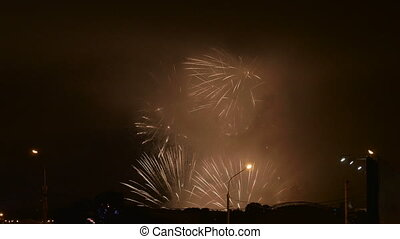 Fireworks in independence day. Real time footage.