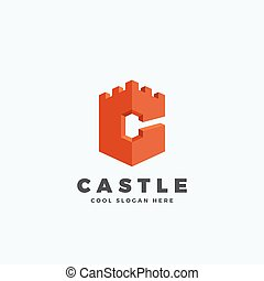 Castle or Tower in the Form of Letter C. Abstract Vector...