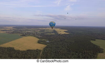 Hot air balloon in the sky over a wheat field.Aerial view -...