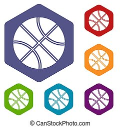 Basketball ball icons set rhombus in different colors...