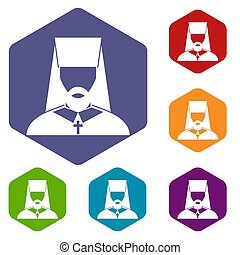 Orthodox priest icons set rhombus in different colors...