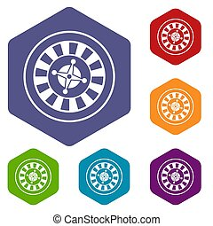 Casino gambling roulette icons set