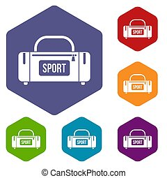 Large sports bag icons set rhombus in different colors...