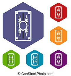 Shield with ornament icons set rhombus in different colors...