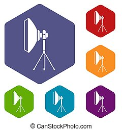 Studio lighting equipment icons set rhombus in different...
