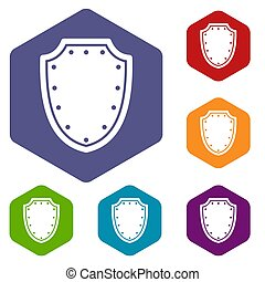 Army protective shield icons set rhombus in different colors...