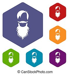 Male avatar with beard icons set rhombus in different colors...