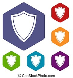 Shield for war icons set rhombus in different colors...