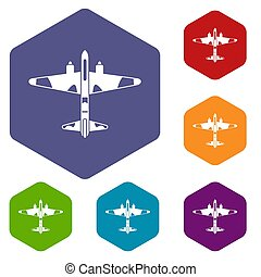 Military fighter aircraft icons set