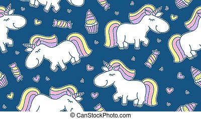 baby seamless pattern with unicorns