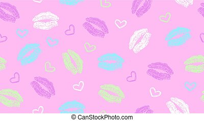 seamless pattern with lips traces and hearts