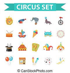 Circus icon set, flat, cartoon style. Set isolated on a...