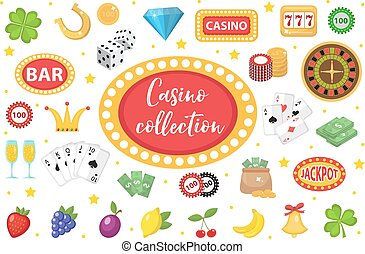 Casino Collection. Gambling set isolated on a white background. Poker, card games, one-armed bandit, roulette kit of design elements. flat style. Vector illustration, clip art.