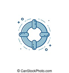 Vector business illustration of blue colors protection shield and lock icon in linear style.