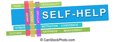 Self Help Wordcloud Colorful Stripes - Self help concept...