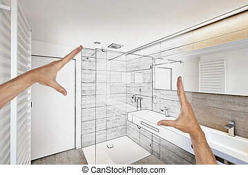 Planned renovation of a Luxury modern bathroom - Planned...