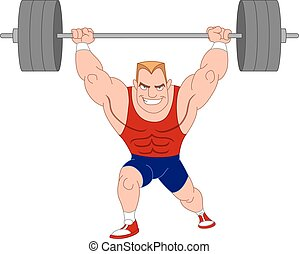 Weightlifter. Bodybuilder lifting barbell.