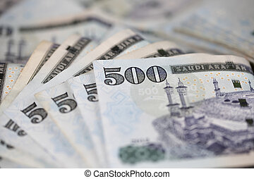 Close-up Saudi Riyal notes - Saudi Riyal is the Currency of...