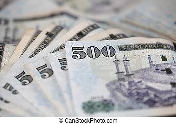 Close-up Saudi Riyal notes - Saudi Riyal is the Currency of...